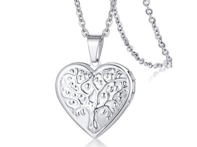 Medailón 3D srdce na fotky z ocele, strieborná farba, strom a TE AMO (1)