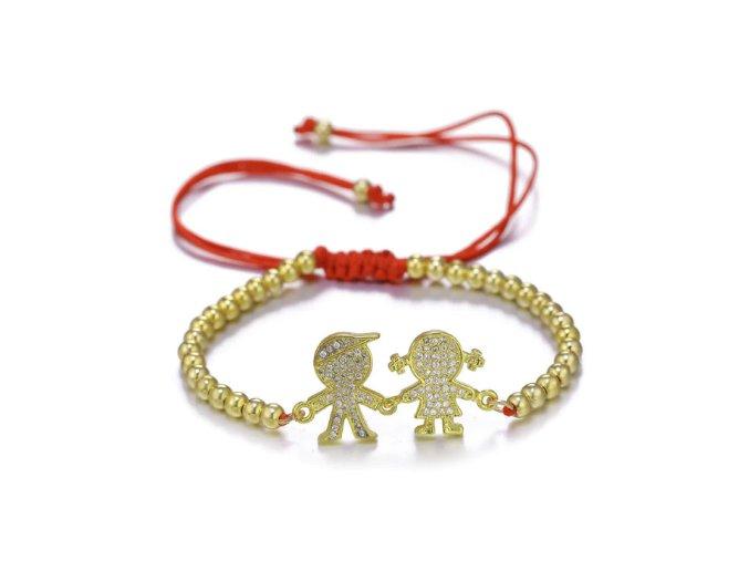 Červený náramok proti urieknutiu, dcéra a syn, guličky zlatej farby bižutéria