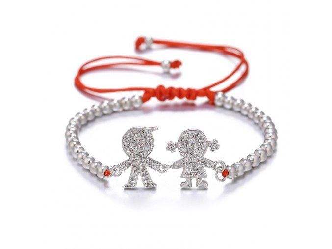 Červený náramok proti urieknutiu, dcéra a syn, guličky striebornej farby bižutéria