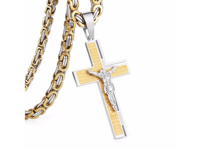 Retiazka s krížom pre muža, oceľ, dve farby, modlitba a Ježiš, zárezy (1)