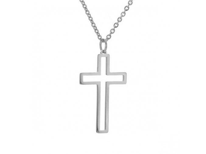 Oceľový set retiazka a malý prívesok, kontúra kríža, strieborná farba (1)