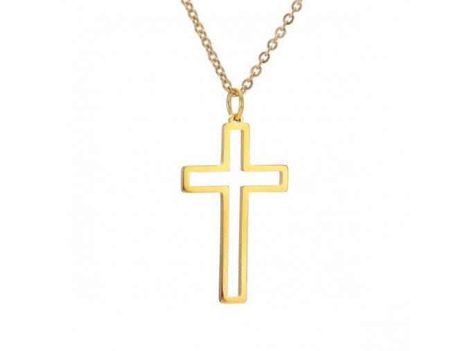 Oceľový set retiazka a malý prívesok, kontúra kríža, zlatá farba (1)