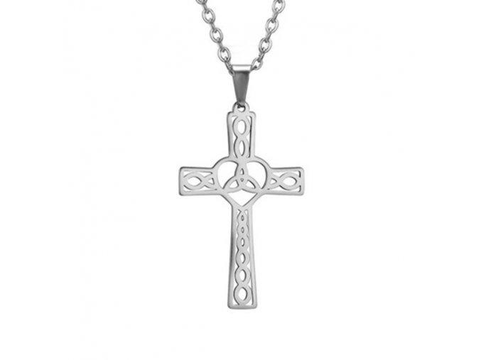 Oceľový set retiazka a malý prívesok, keltský kríž, strieborná farba (1)