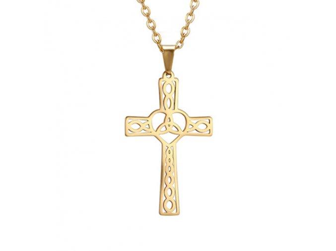 Oceľový set retiazka a malý prívesok, keltský kríž, zlatá farba (1)