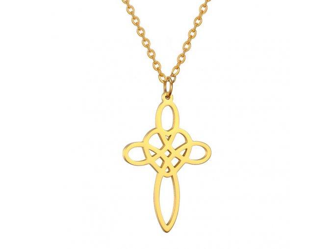 Oceľový set retiazka a malý prívesok, keltský uzol, zlatá farba (1)