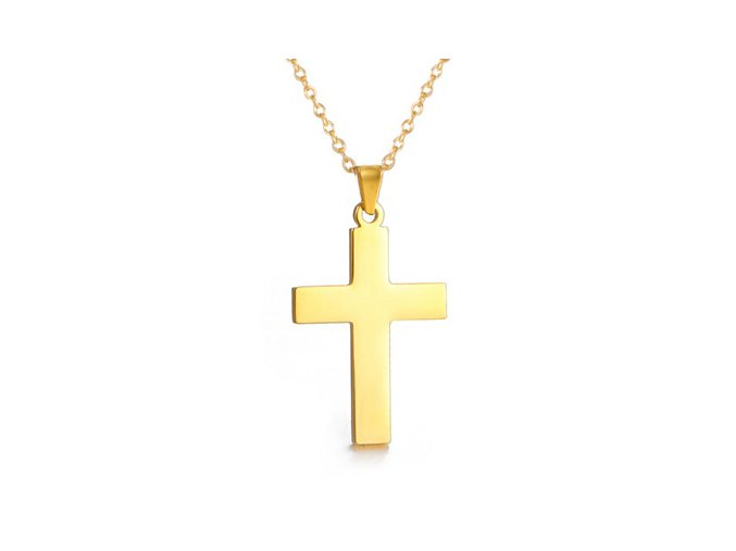 Oceľový set retiazka a maličký prívesok, hladký lesklý krížik, zlatá arba (1)