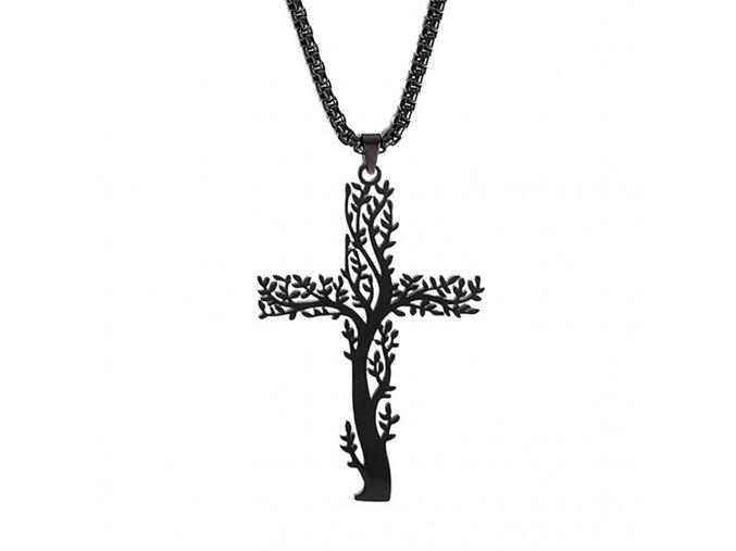 Sada retiazka Cube a prívesok kríža, oceľ, strom a čierna farba