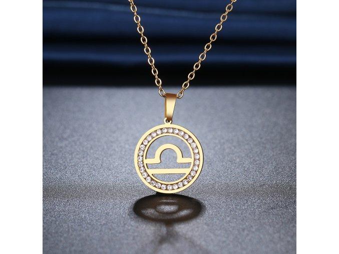 Retiazka s príveskom zverokruhu, oceľ, zirkóny, zlatá farba VÁHY (1)