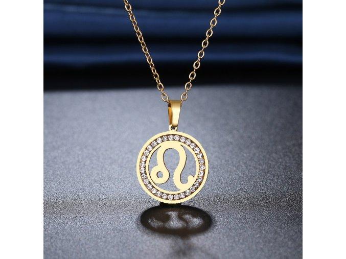 Retiazka s príveskom zverokruhu, oceľ, zirkóny, zlatá farba LEV (1)