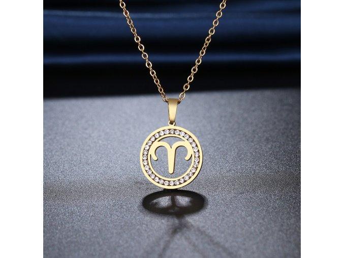 Retiazka s príveskom zverokruhu, oceľ, zirkóny, zlatá farba BARAN (1)