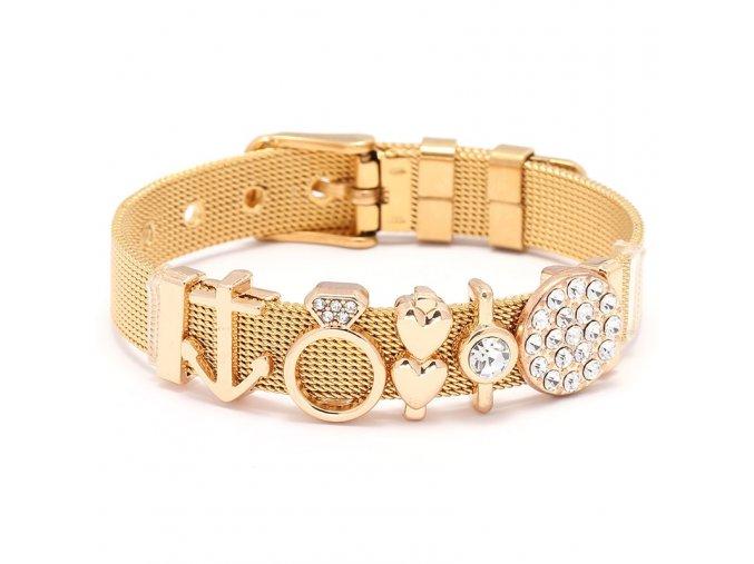 Dámsky náramok z ocele, opasok, zlatá farba, prívesok prsteň, kotvica, srdca, zirkóny
