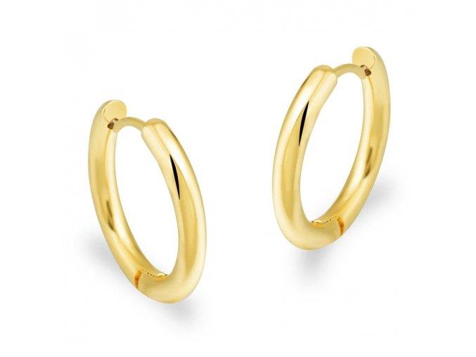 Dámske hladké okrúhle náušnice pre ženu, oceľ zlatej farby 20 mm (1)