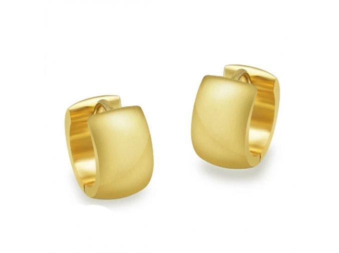 Okrúhle náušnice zlatej farby z ocele, zrkadlový povrch (1)
