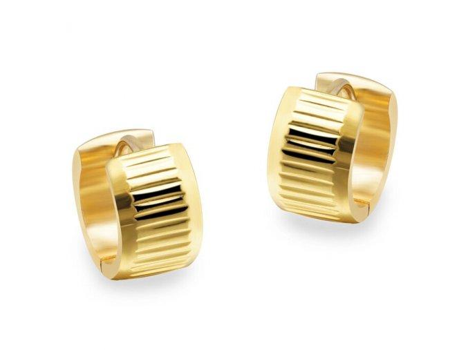 Dámske okrúhle náušnice z ocele, zlatá farba, zárezy (1)