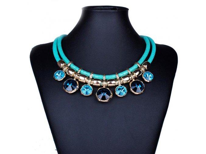 Dámsky bižutéria náhrdelník, mätová farba, kryštály