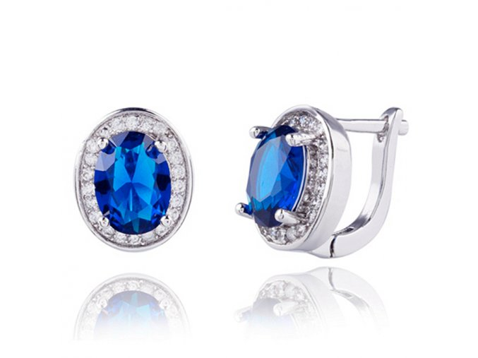 Dámske zirkónové náušnice, bižutéria, modrý oválny kamienok