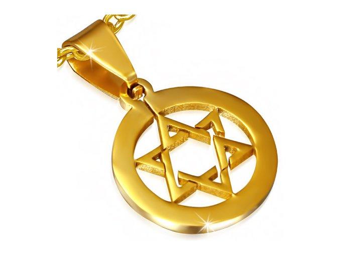 Prívesok pentagram v kruhu, Dávidová hviezda, chirurgická oceľ