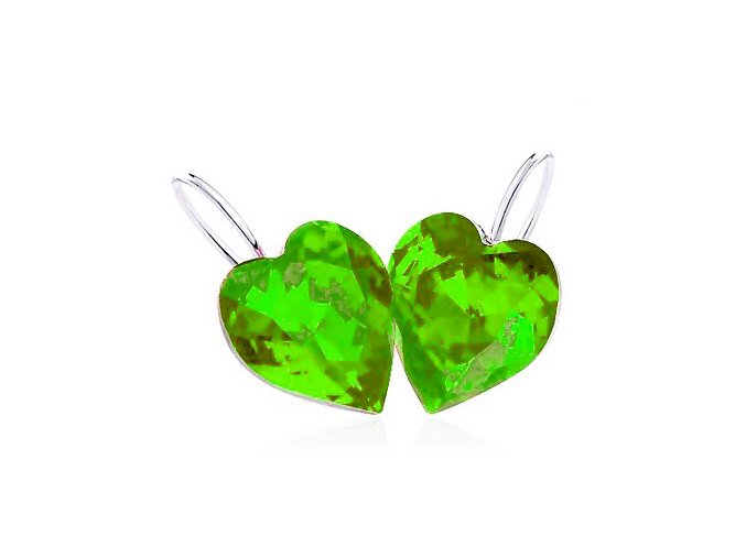 Visiace náušnice, kamienkové zelené srdce, bižutéria