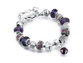 Dámsky náramok z príveskamí, fialový, bižutéria