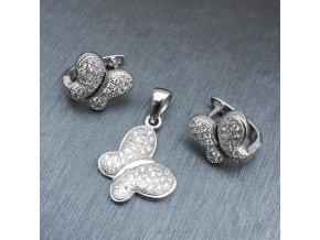 Strieborný set 925 náušníc a prívesku pre ženu, zirkónový motýľ