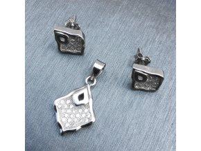 Strieborné náušnice a prívesok, set 925, zirkónový listok