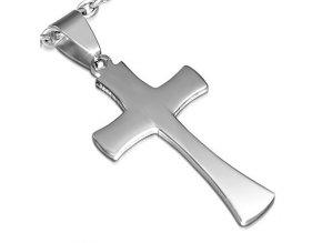 Kríž z chirurgickej ocele, prívesok na retiazku, strieborná farba