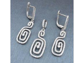 Strieborný set šperkov 925, náušnice a prívesok, zirkónový grécky kľúč