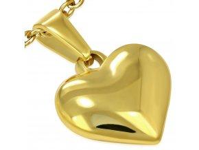 Prívesok srdce z chirurgickej ocele, zlatá farba, 3D
