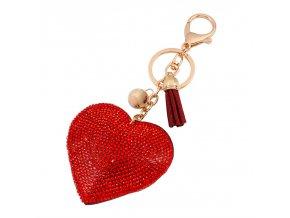 Prívesok na kabelku, červené srdce s kamienkami, strapec