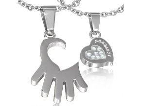 Prívesok pre zamilovaných, srdce a dlaň z chirurgickej ocele so zirkónmi