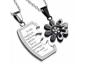 Prívesky pre zamilovaných, oceľ, kvet a známka, nápis