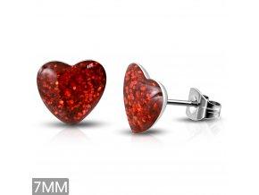 Náušnice srdce z chirurgickej ocele, červené trblietky, puzetky