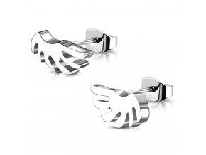 Dámske náušnice anjelské krídla z ocele, strieborná farba