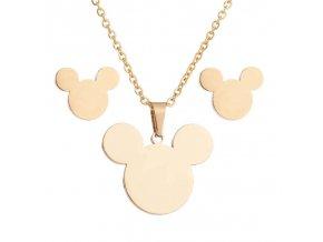 Dámsky prívesok a náušnice, Mickey Mouse zlatej farby, chirurgická oceľ (1)