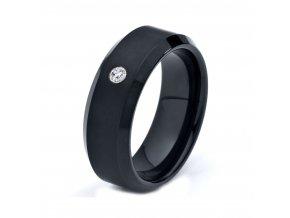 Prsteň so zirkónom, čierna antialergická oceľ