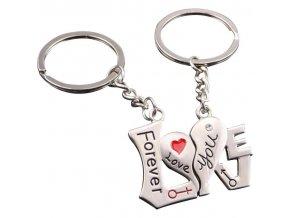 Kľúčenky pre dvoch, LOVE, srdce a nápisy