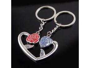 """Prívesky na kľúče pre dvoch, srdce a ruže, nápis """"LOVE"""", zirkóny"""