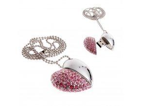 USB šperk pre ženu, náhrdelník srdce s ružovými zirkónmi 8 GB
