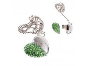USB šperk pre ženu, náhrdelník srdce so zelenými zirkónmi 8 GB