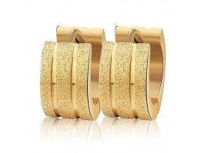 Náušnice pre ženu, oceľ, tri pieskované pásy, zlatá farba (1)