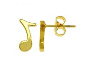 Náušnice pre ženu, osminová nota z chirurgickej ocele, zlatá farba