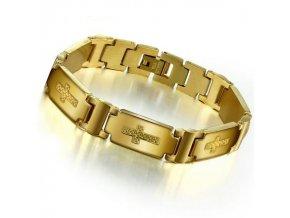 Náramok na ruku z chirurgickej ocele, zlatá farba, kríž