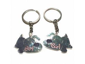Prívesky na kľúče pre dvoch, dva psíky, nápis Girl a Boy (3)