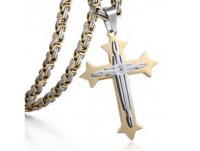 Pánska retiazka s krížom, kráľovský vzor, dve farby, chirurgická oceľ