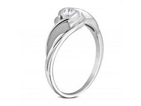 Zásnubný prsteň so zirkónom, vlnka, chirurgická oceľ, strieborná farba