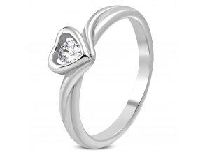 Zásnubný prsteň so srdcom, číry zirkón, chirurgická oceľ