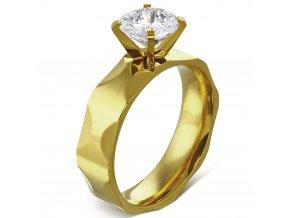 Zásnubný prsteň so zirkónom, zlatá farba, oceľ Solitér