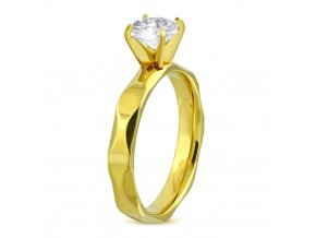 Zásnubný prsteň so zirkónom, zlatá farba, chirurgická oceľ Solitér