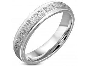 Pieskovaný prsteň z chirurgickej ocele, strieborná farba 5 mm