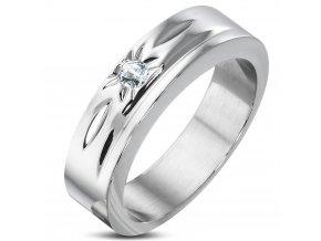 Zásnubný prsteň so zirkónom, chirurgická oceľ